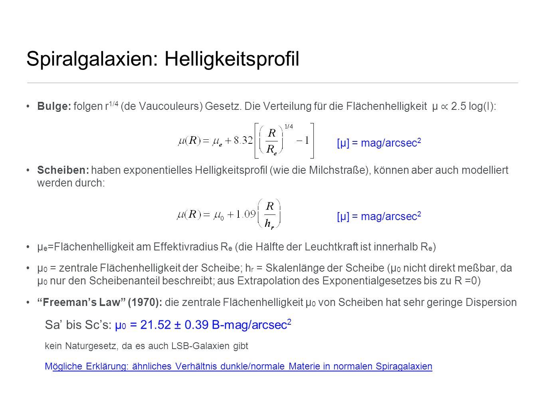 Spiralgalaxien: Helligkeitsprofil Bulge: folgen r 1/4 (de Vaucouleurs) Gesetz. Die Verteilung für die Flächenhelligkeit µ 2.5 log(I): Scheiben: haben