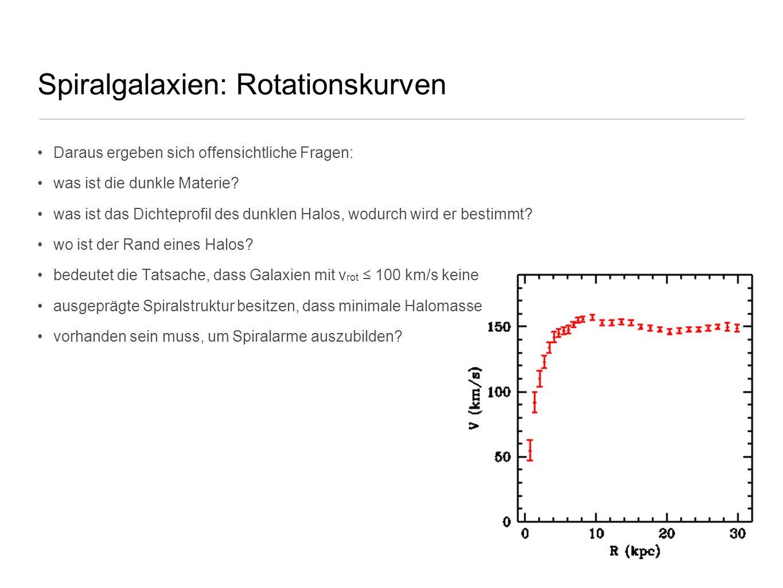 Spiralgalaxien: Rotationskurven Daraus ergeben sich offensichtliche Fragen: was ist die dunkle Materie? was ist das Dichteprofil des dunklen Halos, wo