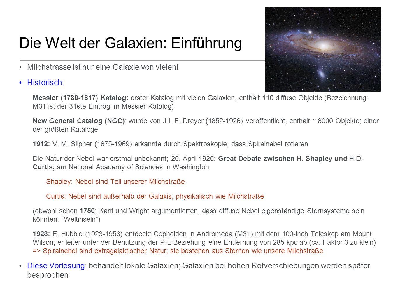 Zusammenfassung Populationssynthese Die wichtigsten Ergebnisse der Populationssynthese sind: - mit einfachen Modellen der Sternentstehungsgeschichte können Farben der heutigen Galaxien verstanden werden - die (meisten) Sterne der Es und S0s sind alt; je früher der Hubble Tyo, umso älter die Sternpopulation - detaillierte Modelle der Populationssynthese geben Hinweise auf Geschichte der Sternentstehung; die Vorhersagen können mit den Beobachtungen von Galaxien bei hohen Rotverschiebungen (und daher kleinerem Alter) verglichen werden Wir werden noch öfters auf die Ergebnisse der Populationssynthese zurückkommen: - Interpretation der Farben von Galaxien bei verschiedenen Rotverschiebungen - Interpretation der unterschiedlichen räumlichen Verteilung von Frühtyp- und Spättyp-Galaxien - Abschätzung der Rotverschiebung von Galaxien mittels ihrer Farben (photometrische Rotverschiebungen); Spezialfall: effiziente Selektion von Galaxien bei sehr hohen z - Farben und Leuchtkraft einer Galaxien ändert sich auch dann, wenn keine Sternentstehung statfindet; das Verfolgen einer solchen passiven Entwicklung in der Vergangenheit erlaubt, diesen passiven Alterungsprozess von Episoden der Sternentstehung und anderen Prozessen zu unterscheiden