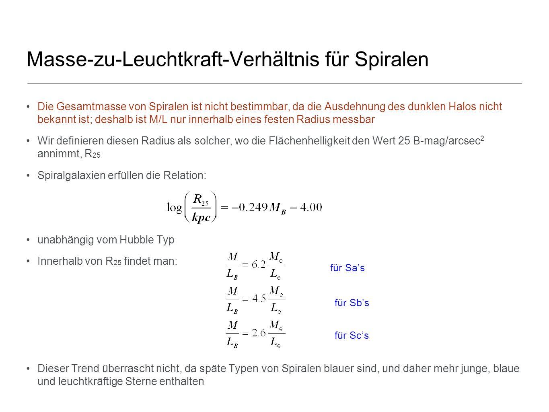 Masse-zu-Leuchtkraft-Verhältnis für Spiralen Die Gesamtmasse von Spiralen ist nicht bestimmbar, da die Ausdehnung des dunklen Halos nicht bekannt ist;
