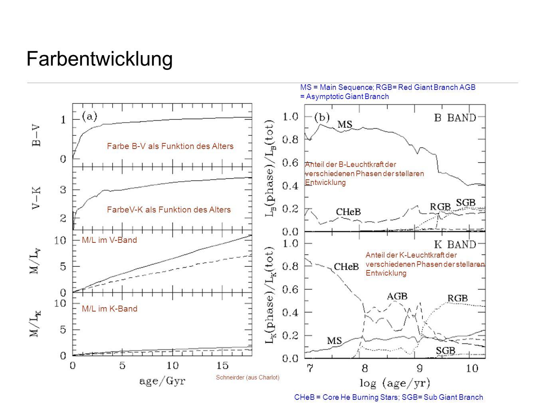 Farbentwicklung Schneirder (aus Charlot) Farbe B-V als Funktion des Alters FarbeV-K als Funktion des Alters M/L im V-Band M/L im K-Band Anteil der B-L