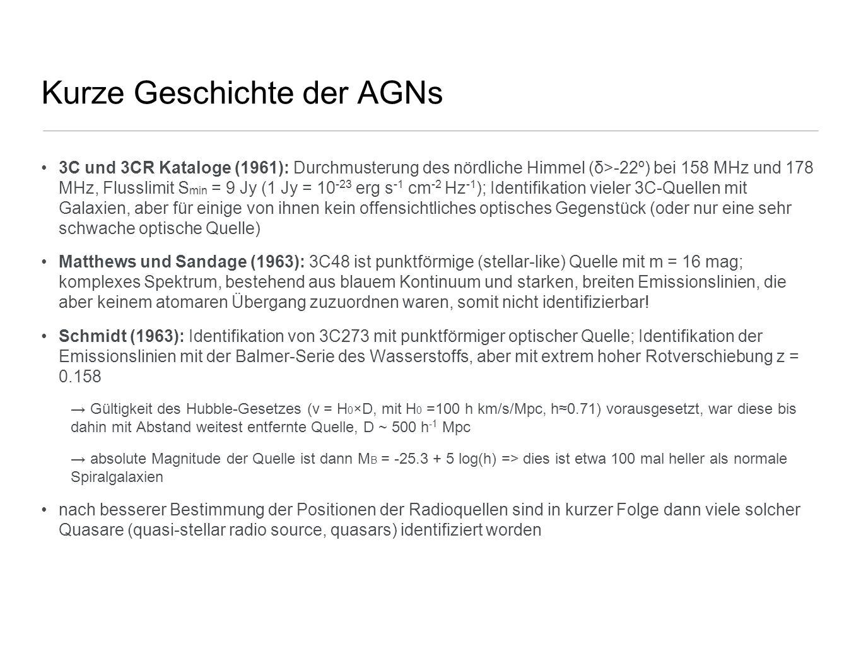 Kurze Geschichte der AGNs 3C und 3CR Kataloge (1961): Durchmusterung des nördliche Himmel (δ>-22º) bei 158 MHz und 178 MHz, Flusslimit S min = 9 Jy (1