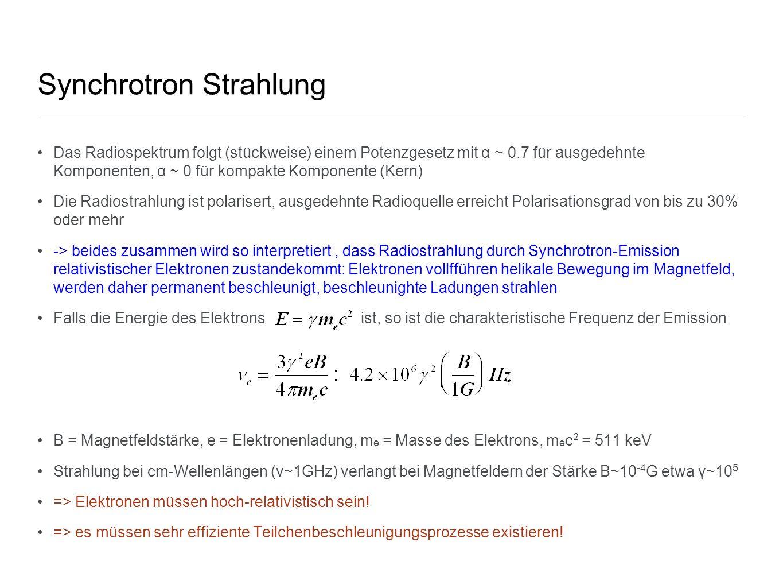 Synchrotron Strahlung Das Radiospektrum folgt (stückweise) einem Potenzgesetz mit α ~ 0.7 für ausgedehnte Komponenten, α ~ 0 für kompakte Komponente (