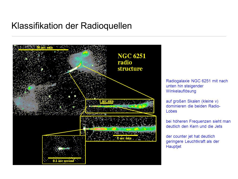 Klassifikation der Radioquellen Radiogalaxie NGC 6251 mit nach unten hin steigender Winkelauflösung auf großen Skalen (kleine ν) dominieren die beiden