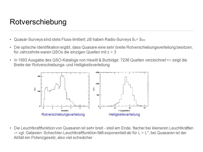Rotverschiebung Quasar-Surveys sind stets Fluss-limitiert; zB haben Radio-Surveys S ν > S lim Die optische Identifikation ergibt, dass Quasare eine se