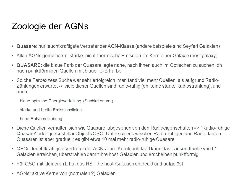 Zoologie der AGNs Quasare: nur leuchtkräftigste Vertreter der AGN-Klasse (andere beispiele sind Seyfert Galaxien) Allen AGNs gemeinsam: starke, nicht-