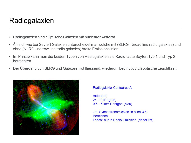 Radiogalaxien Radiogalaxien sind elliptische Galaxien mit nuklearer Aktivität Ähnlich wie bei Seyfert Galaxien unterscheidet man solche mit (BLRG - br