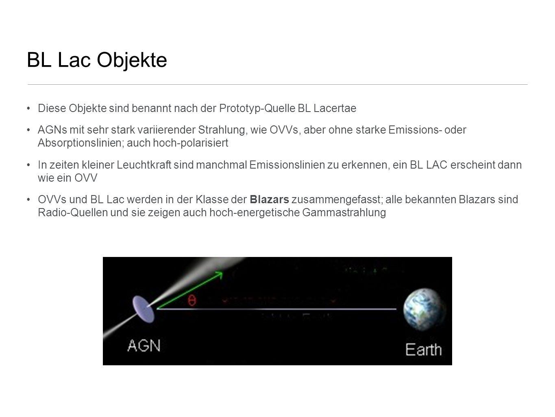 BL Lac Objekte Diese Objekte sind benannt nach der Prototyp-Quelle BL Lacertae AGNs mit sehr stark variierender Strahlung, wie OVVs, aber ohne starke