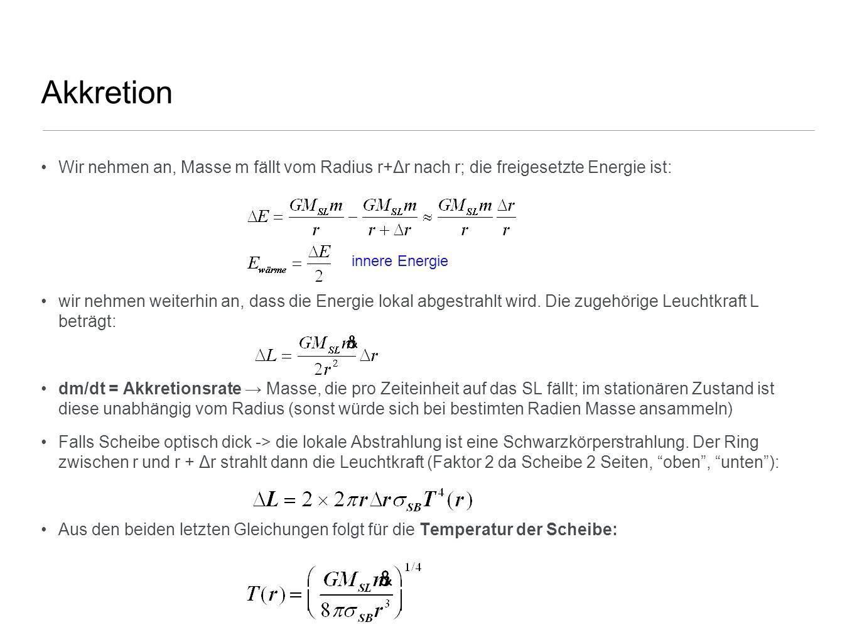 Akkretion Wir nehmen an, Masse m fällt vom Radius r+Δr nach r; die freigesetzte Energie ist: wir nehmen weiterhin an, dass die Energie lokal abgestrah