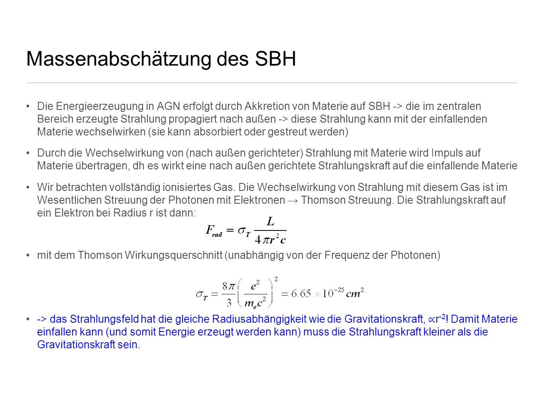 Massenabschätzung des SBH Die Energieerzeugung in AGN erfolgt durch Akkretion von Materie auf SBH -> die im zentralen Bereich erzeugte Strahlung propa