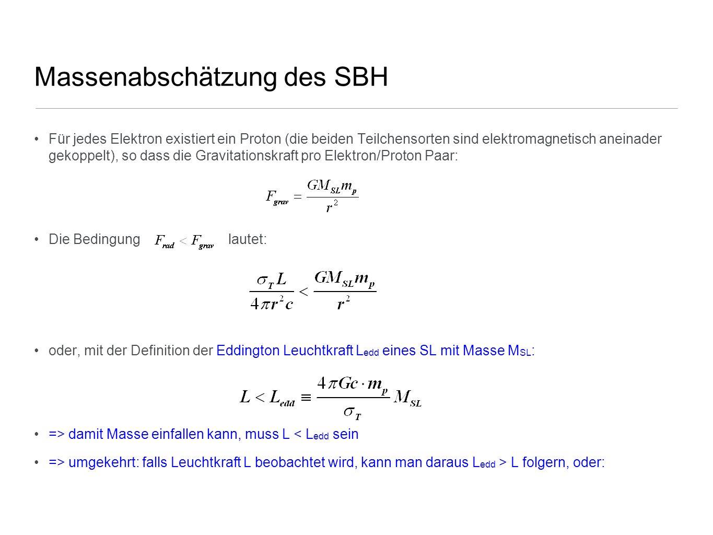 Massenabschätzung des SBH Für jedes Elektron existiert ein Proton (die beiden Teilchensorten sind elektromagnetisch aneinader gekoppelt), so dass die