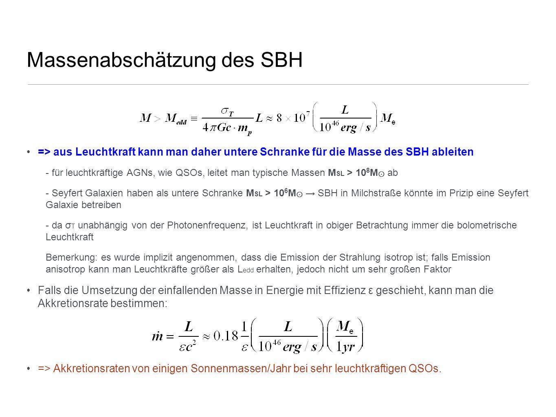 Massenabschätzung des SBH => aus Leuchtkraft kann man daher untere Schranke für die Masse des SBH ableiten - für leuchtkräftige AGNs, wie QSOs, leitet