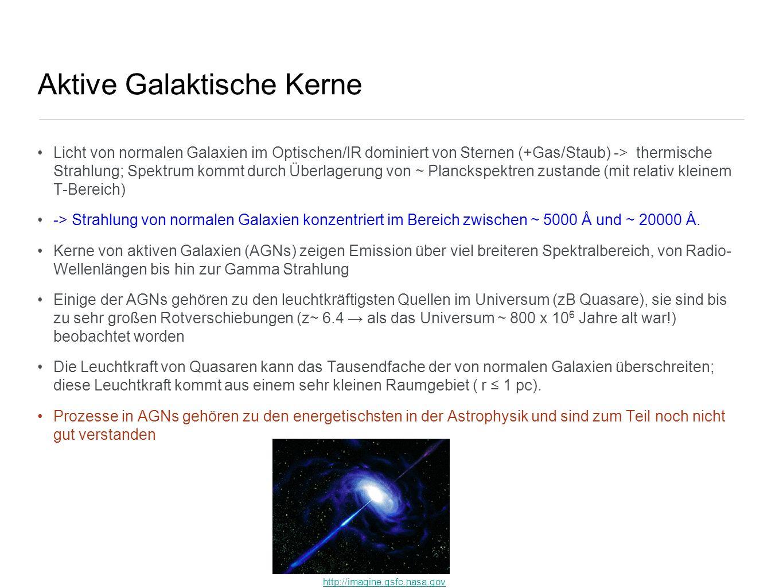 Aktive Galaktische Kerne Licht von normalen Galaxien im Optischen/IR dominiert von Sternen (+Gas/Staub) -> thermische Strahlung; Spektrum kommt durch