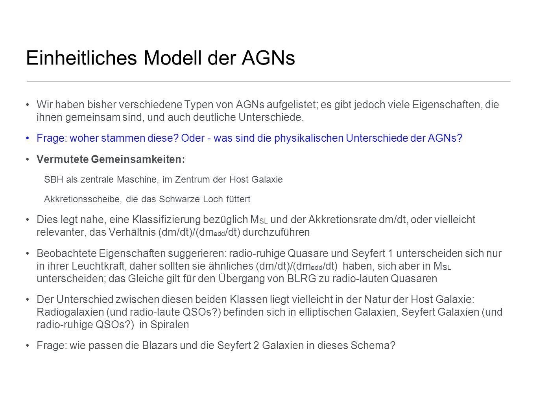 Einheitliches Modell der AGNs Wir haben bisher verschiedene Typen von AGNs aufgelistet; es gibt jedoch viele Eigenschaften, die ihnen gemeinsam sind,