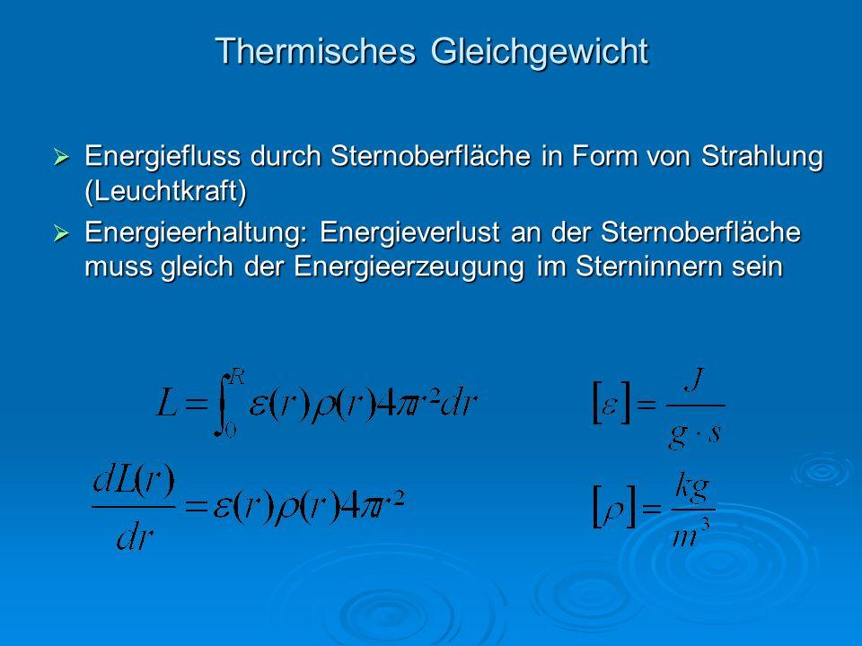 Thermisches Gleichgewicht Energiefluss durch Sternoberfläche in Form von Strahlung (Leuchtkraft) Energiefluss durch Sternoberfläche in Form von Strahl