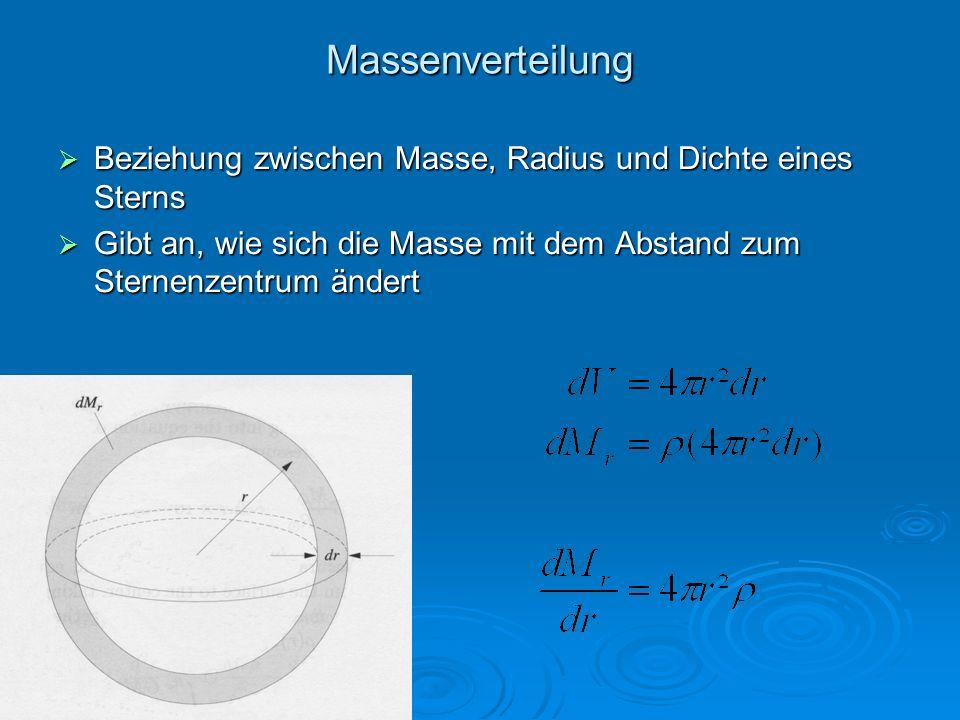 Massenverteilung Beziehung zwischen Masse, Radius und Dichte eines Sterns Beziehung zwischen Masse, Radius und Dichte eines Sterns Gibt an, wie sich d