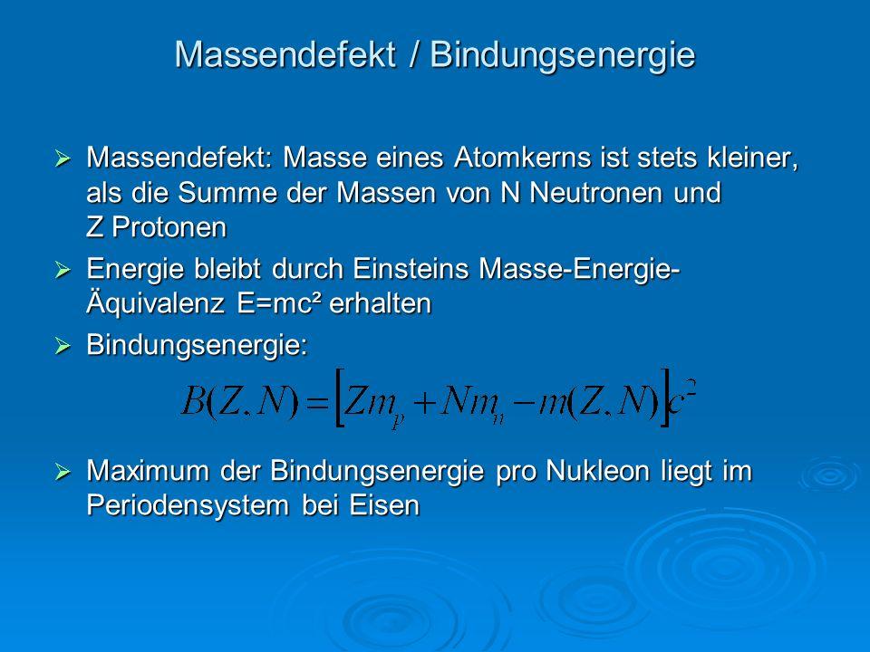 Massendefekt / Bindungsenergie Massendefekt: Masse eines Atomkerns ist stets kleiner, als die Summe der Massen von N Neutronen und Z Protonen Massende