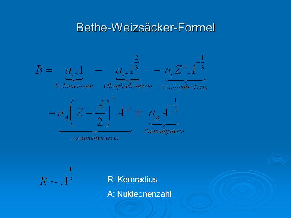 Bethe-Weizsäcker-Formel R: Kernradius A: Nukleonenzahl