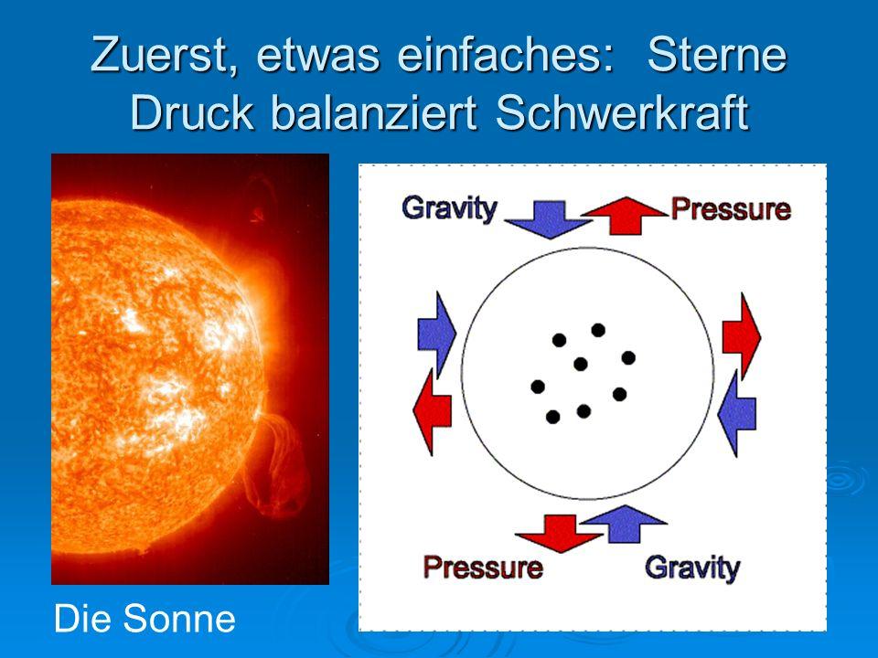Zuerst, etwas einfaches: Sterne Druck balanziert Schwerkraft Die Sonne