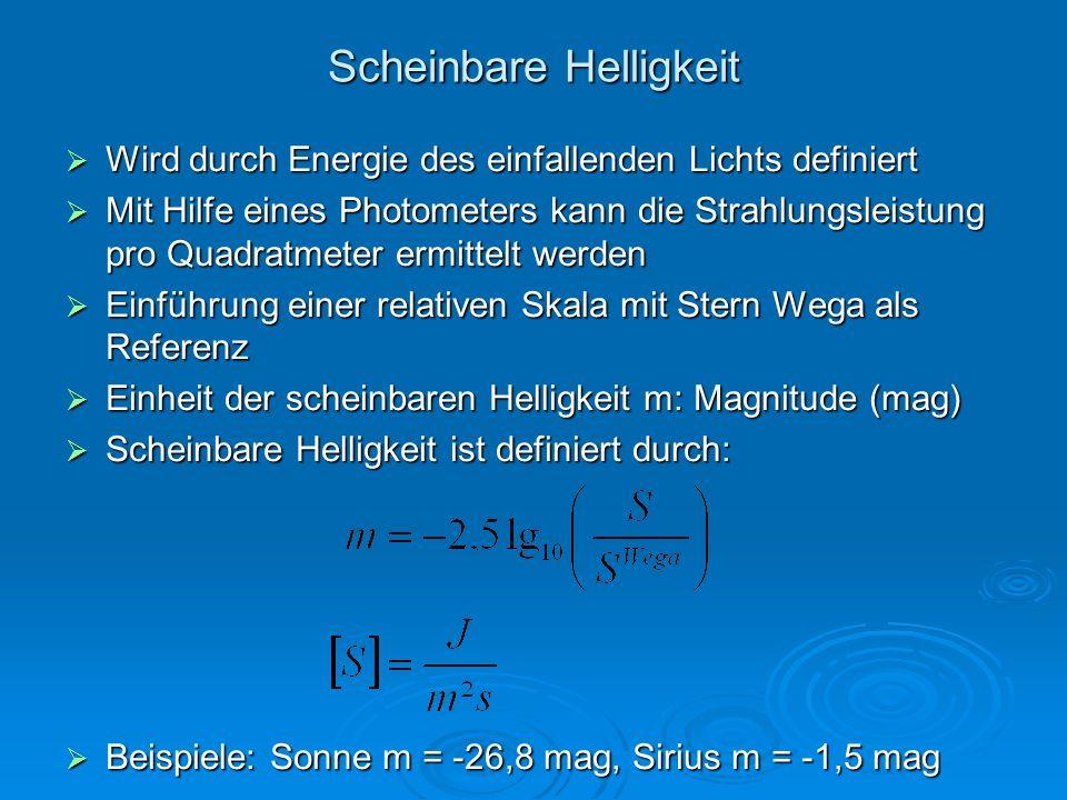 Scheinbare Helligkeit Wird durch Energie des einfallenden Lichts definiert Wird durch Energie des einfallenden Lichts definiert Mit Hilfe eines Photom