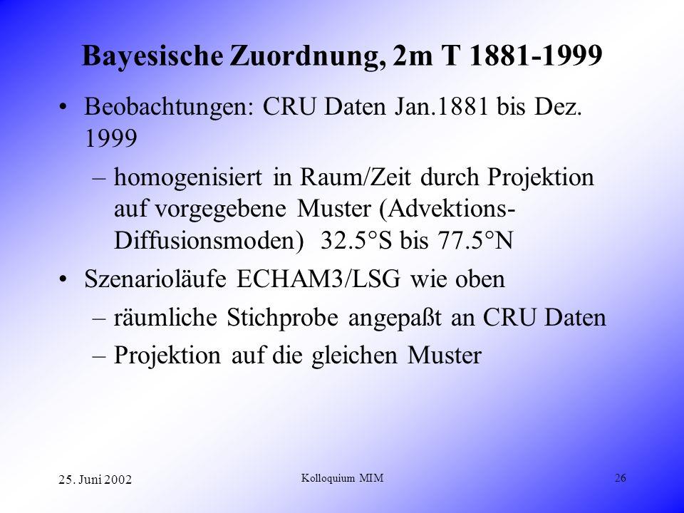 25. Juni 2002 Kolloquium MIM26 Bayesische Zuordnung, 2m T 1881-1999 Beobachtungen: CRU Daten Jan.1881 bis Dez. 1999 –homogenisiert in Raum/Zeit durch
