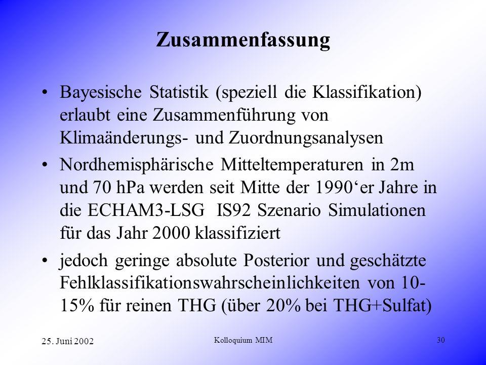 25. Juni 2002 Kolloquium MIM30 Zusammenfassung Bayesische Statistik (speziell die Klassifikation) erlaubt eine Zusammenführung von Klimaänderungs- und
