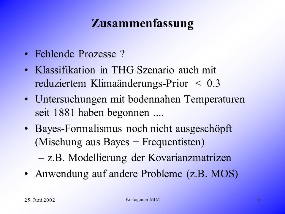 25. Juni 2002 Kolloquium MIM31 Zusammenfassung Fehlende Prozesse ? Klassifikation in THG Szenario auch mit reduziertem Klimaänderungs-Prior < 0.3 Unte