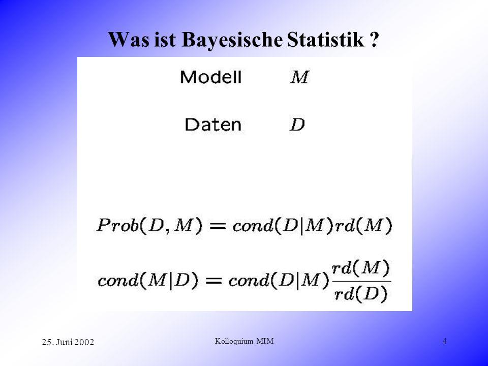 25. Juni 2002 Kolloquium MIM4 Was ist Bayesische Statistik ?
