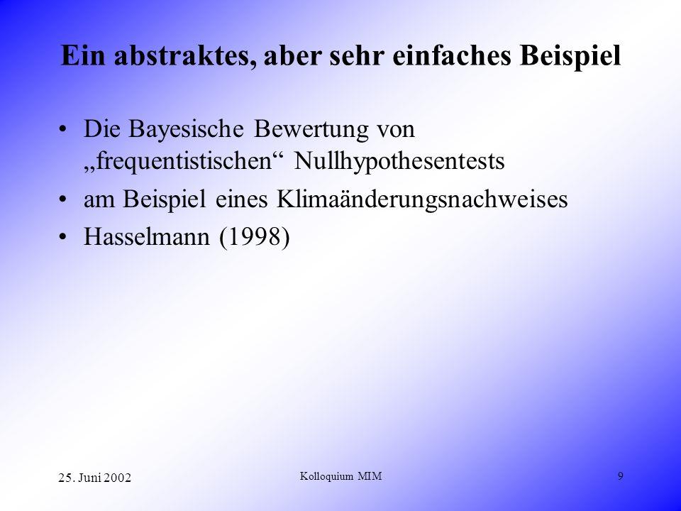 25. Juni 2002 Kolloquium MIM9 Ein abstraktes, aber sehr einfaches Beispiel Die Bayesische Bewertung von frequentistischen Nullhypothesentests am Beisp