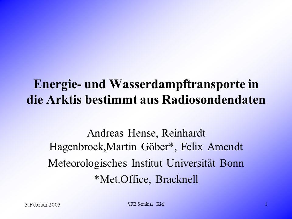 3.Februar 2003 SFB Seminar Kiel1 Energie- und Wasserdampftransporte in die Arktis bestimmt aus Radiosondendaten Andreas Hense, Reinhardt Hagenbrock,Martin Göber*, Felix Amendt Meteorologisches Institut Universität Bonn *Met.Office, Bracknell