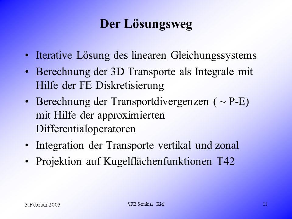 3.Februar 2003 SFB Seminar Kiel11 Der Lösungsweg Iterative Lösung des linearen Gleichungssystems Berechnung der 3D Transporte als Integrale mit Hilfe der FE Diskretisierung Berechnung der Transportdivergenzen ( ~ P-E) mit Hilfe der approximierten Differentialoperatoren Integration der Transporte vertikal und zonal Projektion auf Kugelflächenfunktionen T42