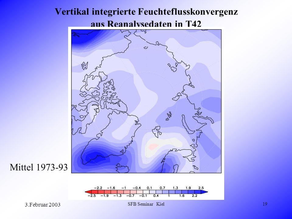3.Februar 2003 SFB Seminar Kiel19 Vertikal integrierte Feuchteflusskonvergenz aus Reanalysedaten in T42 Mittel 1973-93