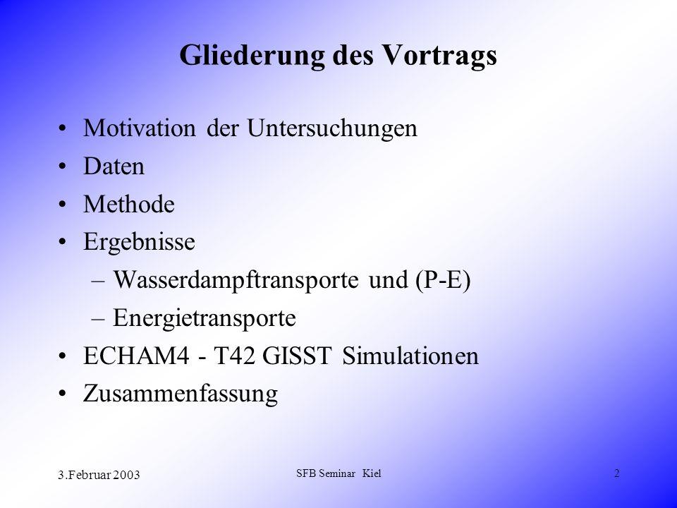 3.Februar 2003 SFB Seminar Kiel2 Gliederung des Vortrags Motivation der Untersuchungen Daten Methode Ergebnisse –Wasserdampftransporte und (P-E) –Energietransporte ECHAM4 - T42 GISST Simulationen Zusammenfassung