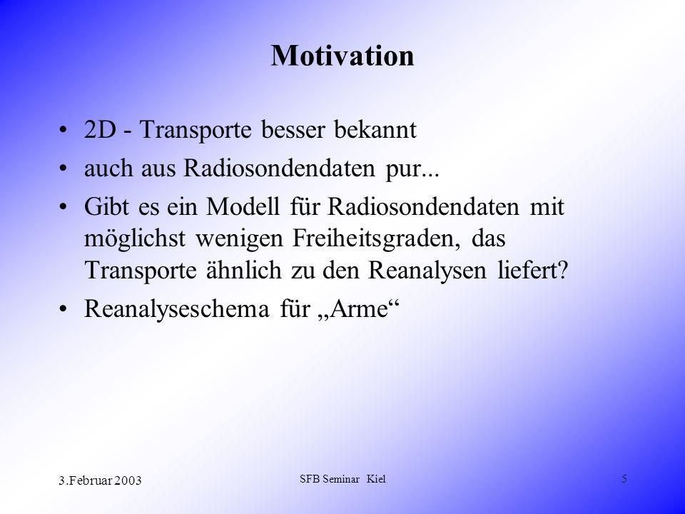 3.Februar 2003 SFB Seminar Kiel5 Motivation 2D - Transporte besser bekannt auch aus Radiosondendaten pur...