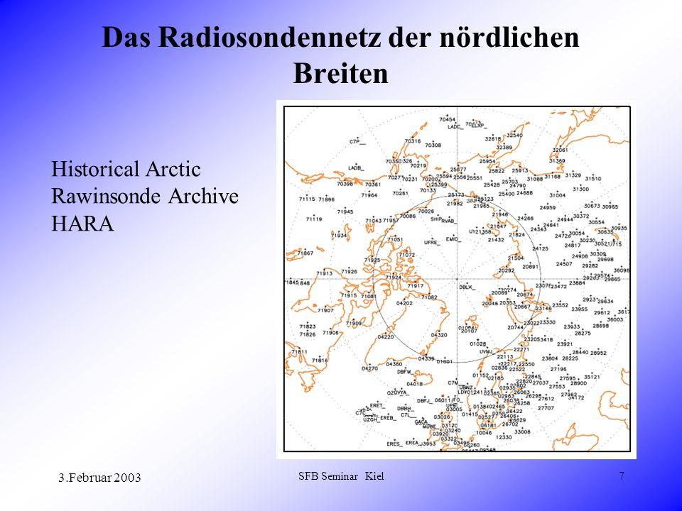 3.Februar 2003 SFB Seminar Kiel18 Vertikal integrierte Feuchteflusskonvergenz aus massenkonsistenten RS Daten und T42 Projektion Mittel 1973-93
