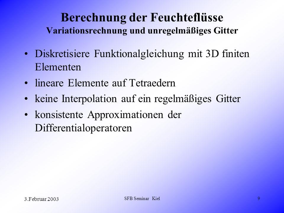 3.Februar 2003 SFB Seminar Kiel9 Berechnung der Feuchteflüsse Variationsrechnung und unregelmäßiges Gitter Diskretisiere Funktionalgleichung mit 3D finiten Elementen lineare Elemente auf Tetraedern keine Interpolation auf ein regelmäßiges Gitter konsistente Approximationen der Differentialoperatoren