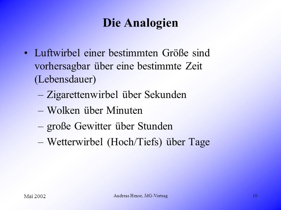 Mai 2002 Andreas Hense, JdG-Vortrag10 Die Analogien Luftwirbel einer bestimmten Größe sind vorhersagbar über eine bestimmte Zeit (Lebensdauer) –Zigare