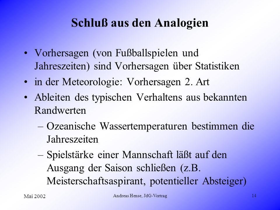 Mai 2002 Andreas Hense, JdG-Vortrag14 Schluß aus den Analogien Vorhersagen (von Fußballspielen und Jahreszeiten) sind Vorhersagen über Statistiken in