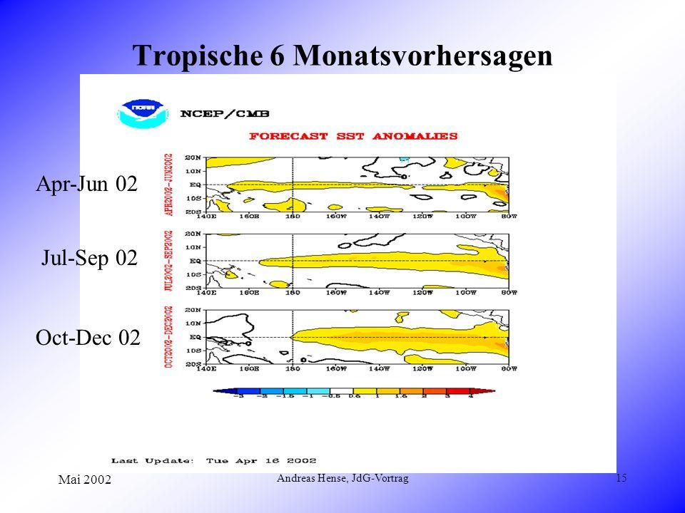 Mai 2002 Andreas Hense, JdG-Vortrag15 Tropische 6 Monatsvorhersagen Apr-Jun 02 Jul-Sep 02 Oct-Dec 02