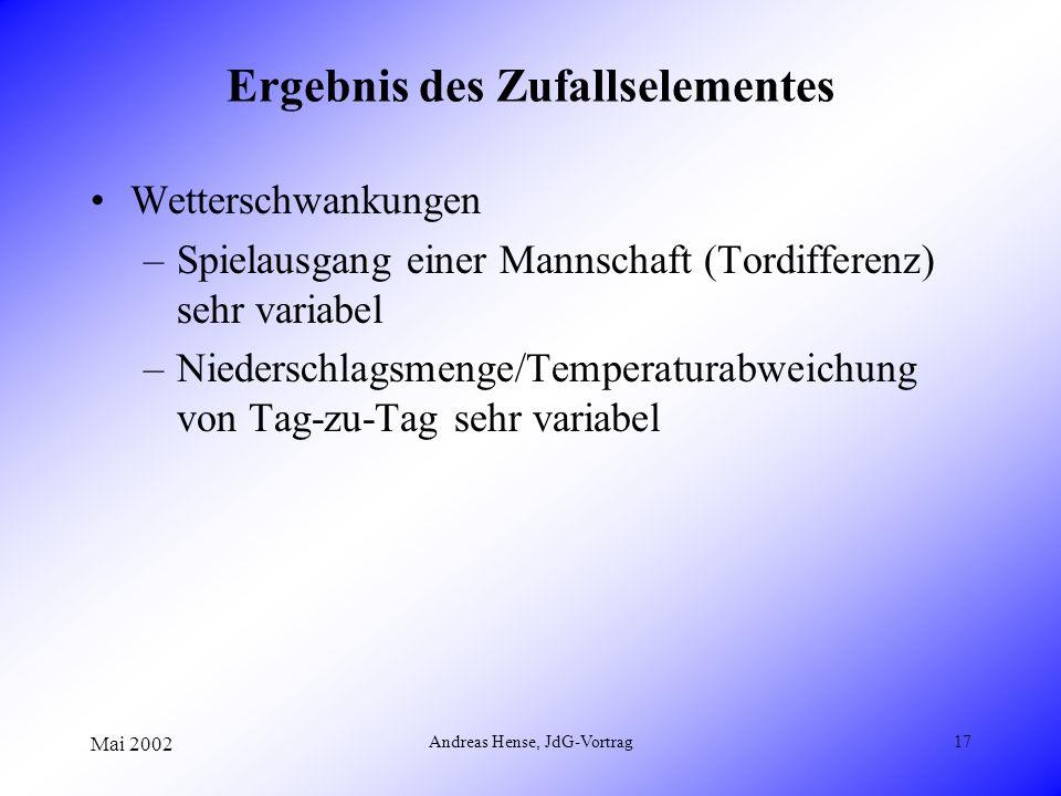 Mai 2002 Andreas Hense, JdG-Vortrag17 Ergebnis des Zufallselementes Wetterschwankungen –Spielausgang einer Mannschaft (Tordifferenz) sehr variabel –Ni