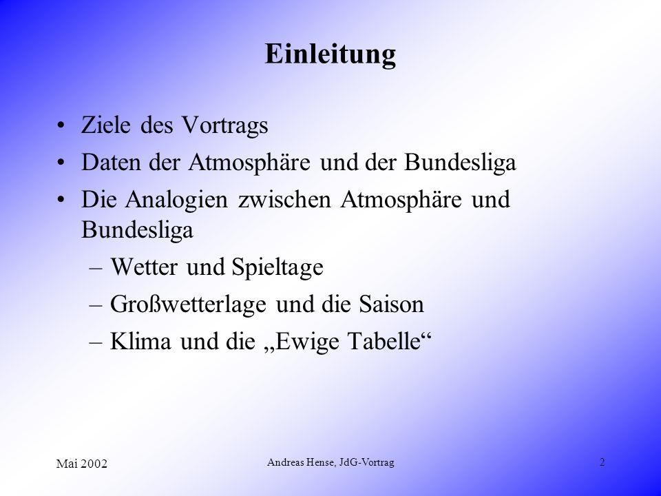 Mai 2002 Andreas Hense, JdG-Vortrag2 Einleitung Ziele des Vortrags Daten der Atmosphäre und der Bundesliga Die Analogien zwischen Atmosphäre und Bunde