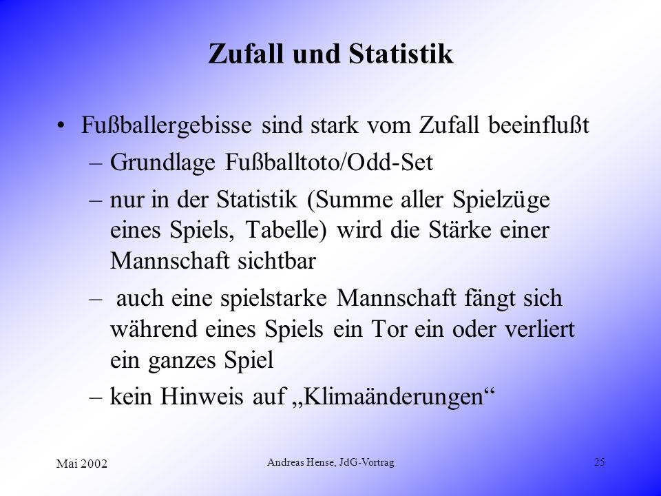 Mai 2002 Andreas Hense, JdG-Vortrag25 Zufall und Statistik Fußballergebisse sind stark vom Zufall beeinflußt –Grundlage Fußballtoto/Odd-Set –nur in de
