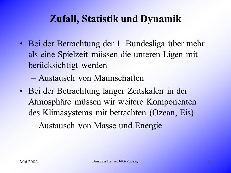 Mai 2002 Andreas Hense, JdG-Vortrag33 Zufall, Statistik und Dynamik Bei der Betrachtung der 1. Bundesliga über mehr als eine Spielzeit müssen die unte