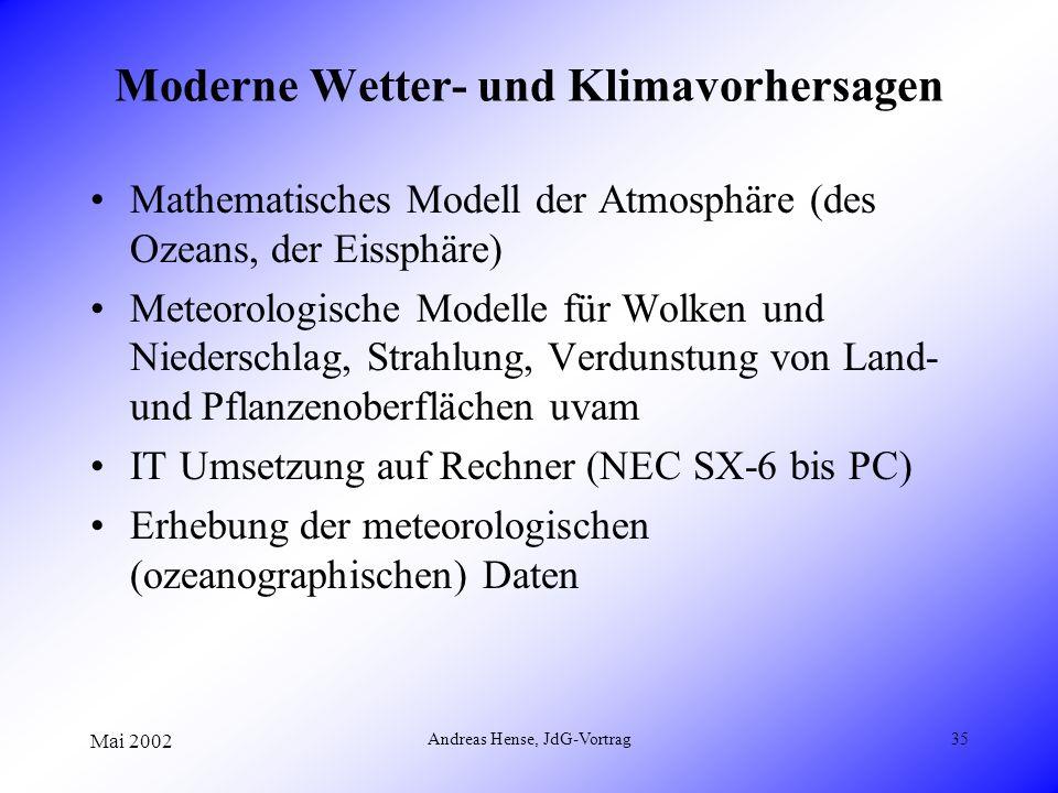 Mai 2002 Andreas Hense, JdG-Vortrag35 Moderne Wetter- und Klimavorhersagen Mathematisches Modell der Atmosphäre (des Ozeans, der Eissphäre) Meteorolog
