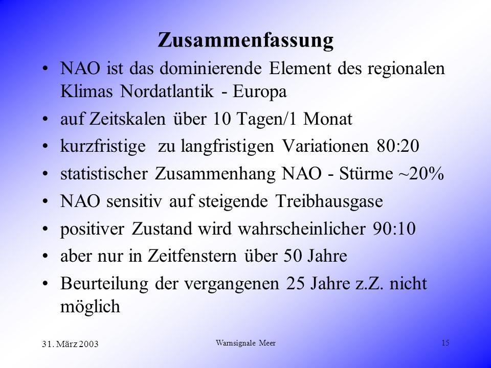 31. März 2003 Warnsignale Meer15 Zusammenfassung NAO ist das dominierende Element des regionalen Klimas Nordatlantik - Europa auf Zeitskalen über 10 T
