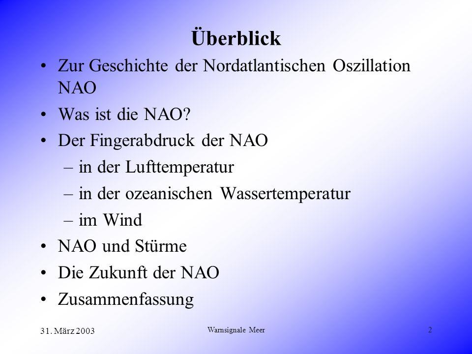 31. März 2003 Warnsignale Meer2 Überblick Zur Geschichte der Nordatlantischen Oszillation NAO Was ist die NAO? Der Fingerabdruck der NAO –in der Luftt