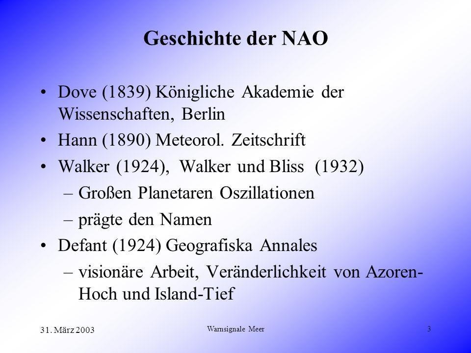 31. März 2003 Warnsignale Meer3 Geschichte der NAO Dove (1839) Königliche Akademie der Wissenschaften, Berlin Hann (1890) Meteorol. Zeitschrift Walker