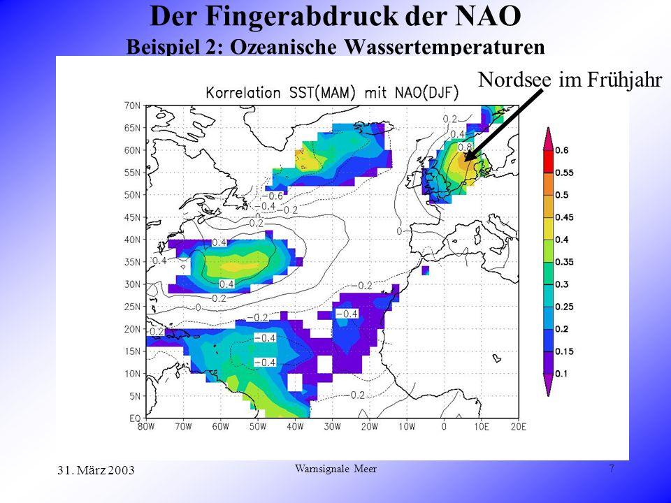 31. März 2003 Warnsignale Meer7 Der Fingerabdruck der NAO Beispiel 2: Ozeanische Wassertemperaturen Nordsee im Frühjahr