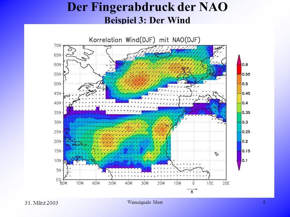 31. März 2003 Warnsignale Meer9 Die NAO und Stürme Korr(NAO,Sturm) ~ 0.4
