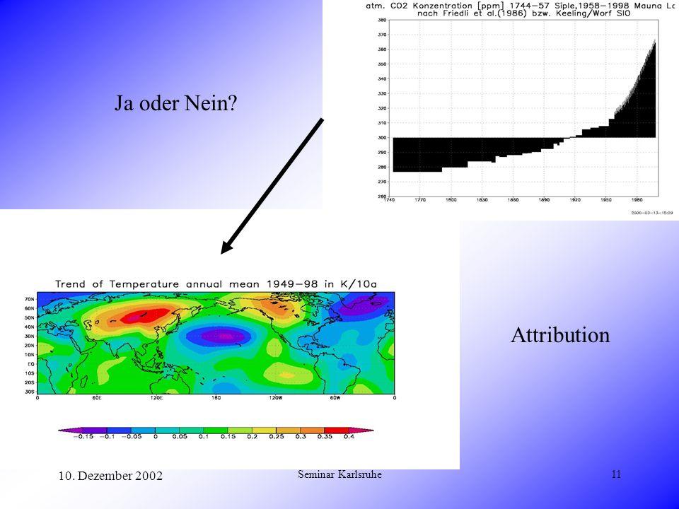 10. Dezember 2002 Seminar Karlsruhe11 Ja oder Nein? Attribution